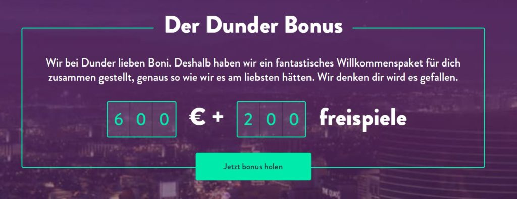 Dunder Casino Willkommensbonus